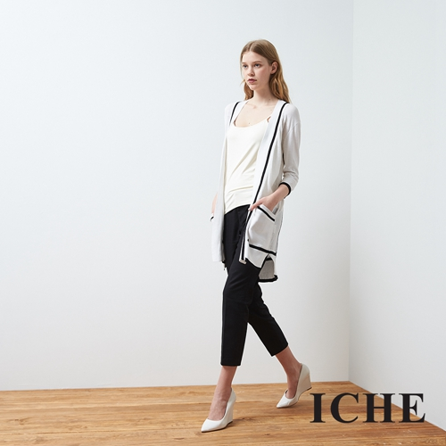 ICHE 衣哲 黑白撞色滾邊長版針織外套
