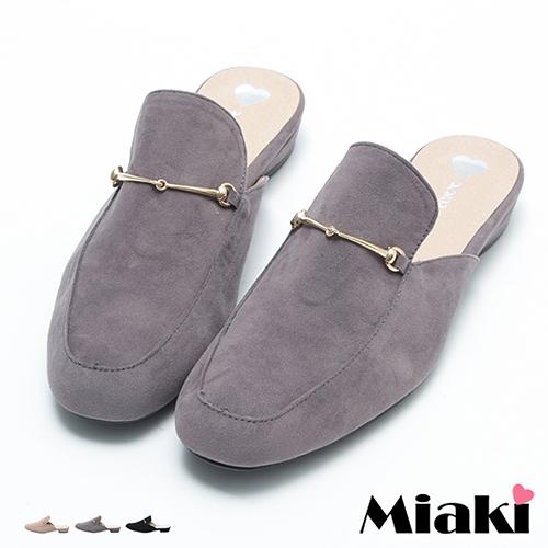 【Miaki】MIT 休閒鞋首爾細絨馬蹄釦飾懶人半拖鞋 (卡其色 / 灰色 / 黑色)