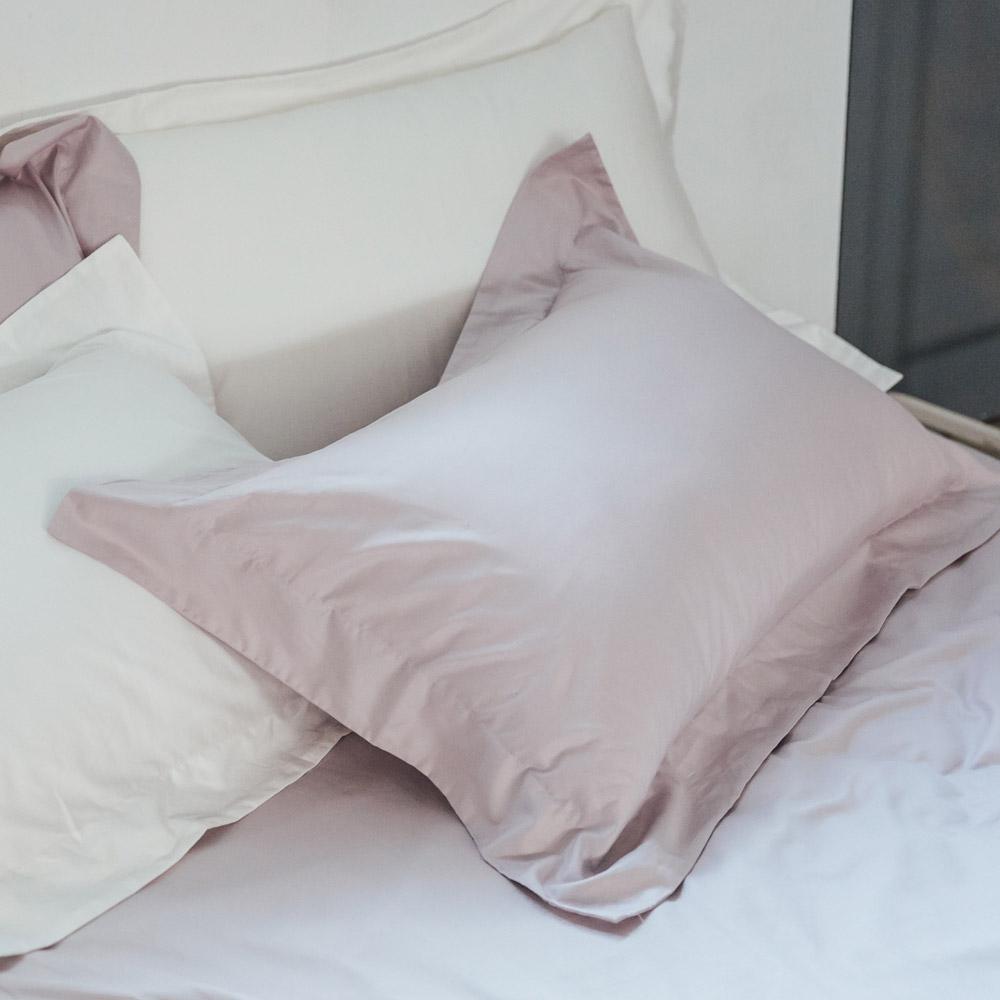 LAMINA 純色-灰芋紫  精梳棉枕頭套-2入