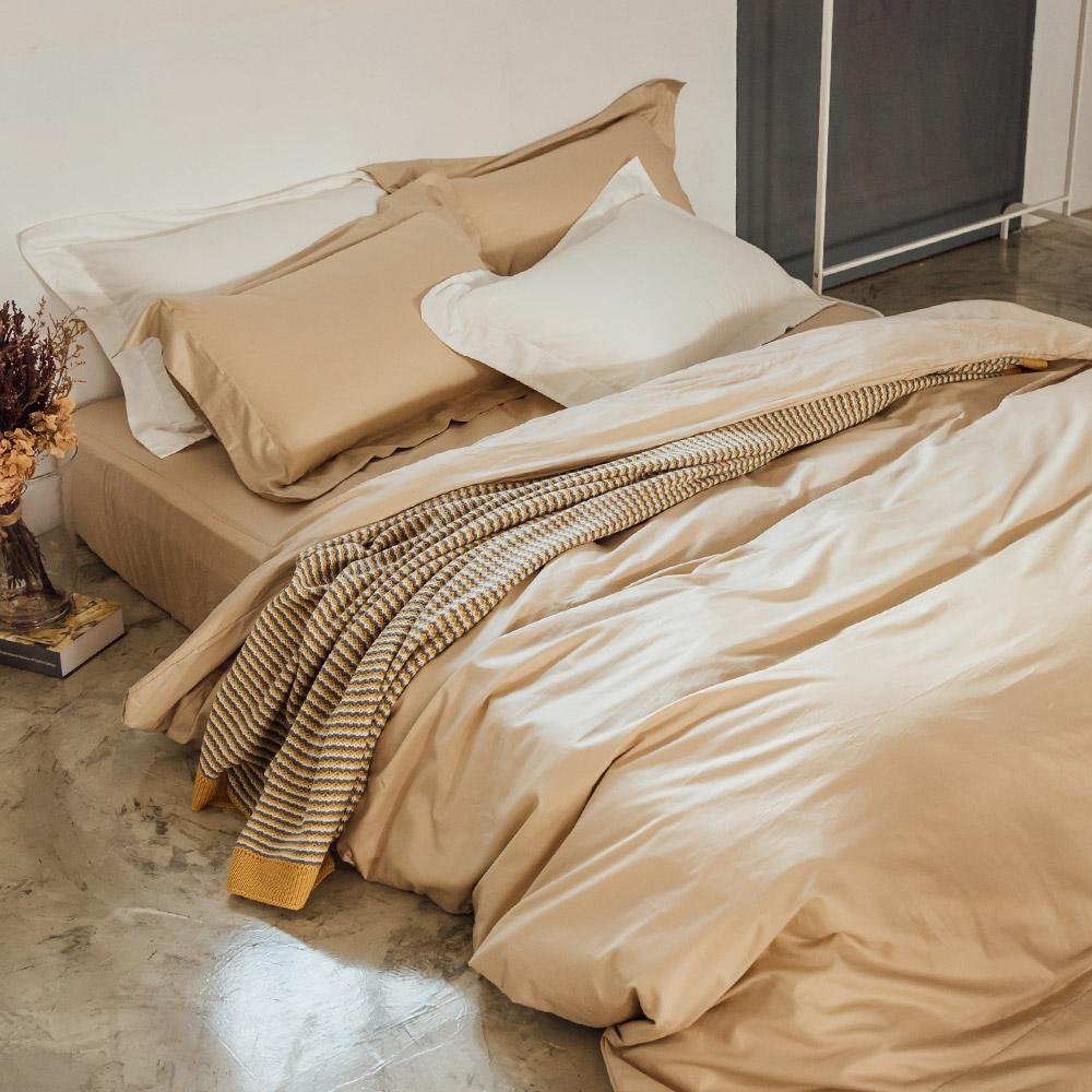 LAMINA 純色-卡布奇諾 精梳棉三件式被套床包組(單人)