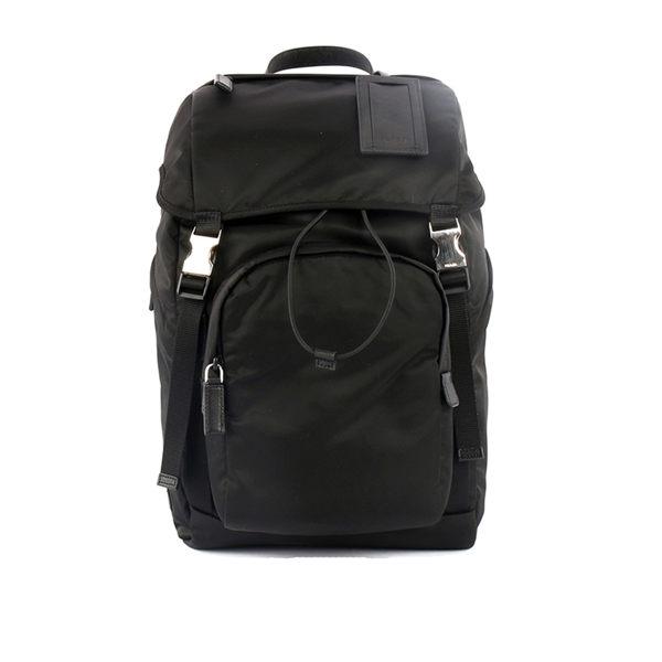 【PRADA】尼龍帆布束口雙釦口袋後背包(黑色)