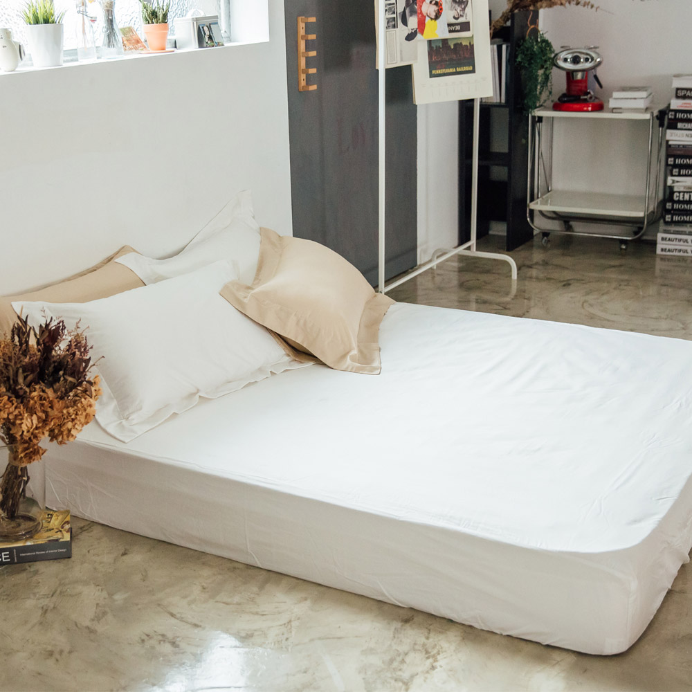 LAMINA 純色-石英白 精梳棉床包(雙人)