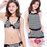 【天使霓裳】夏日特輯 三件式泳衣比基尼(黑白M~XL)