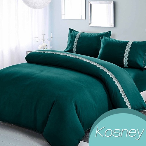 《KOSNEY   劍橋魅力》吸溼排汗專利蕾絲雙人床包被套組