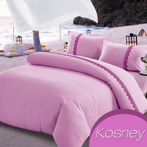 《KOSNEY   凡爾賽之戀》吸溼排汗專利蕾絲加大床包被套組