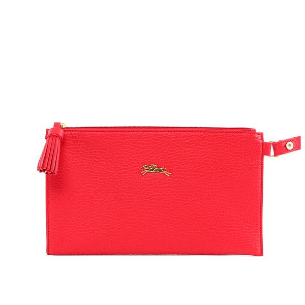 【LONGCHAMP】penelope系列小牛皮手拿包(有把手)(紅色)