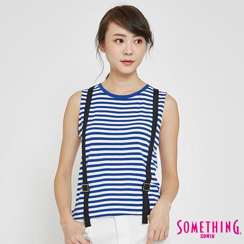 SOMETHING 造型吊帶條紋T恤-女-藍色