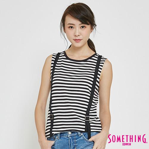 SOMETHING 造型吊帶條紋T恤-女-黑色