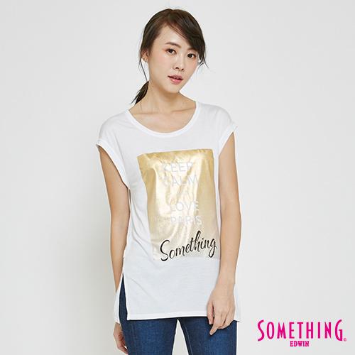 SOMETHING 金箔漸層LOGOT恤-女-白色