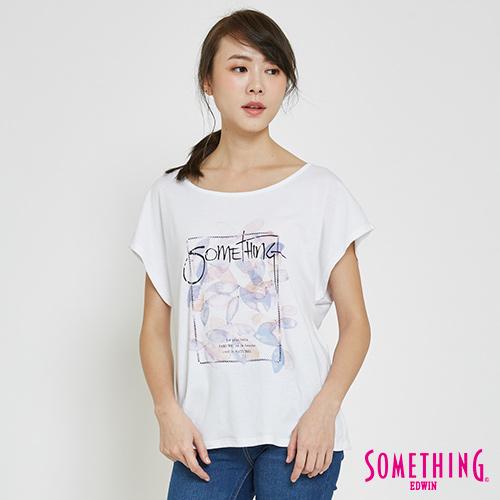 SOMETHING 葉片疊影LOGOT恤-女-白色
