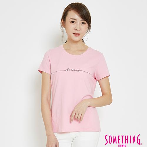 SOMETHING 愛心LOGOT恤-女-淺粉色