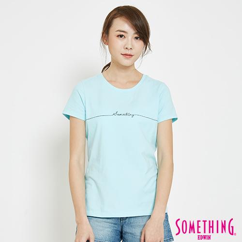 SOMETHING 愛心LOGOT恤-女-水藍色