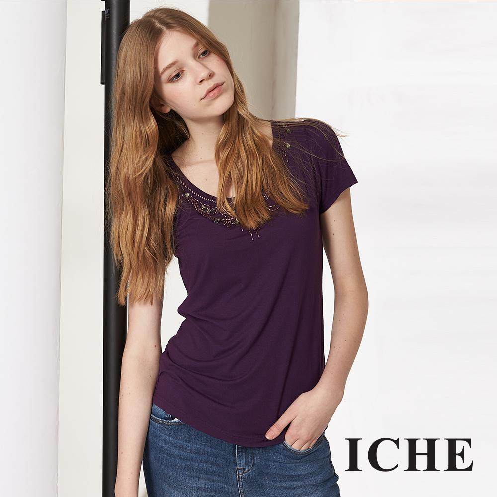 ICHE 衣哲 優雅紫釘珠百搭短袖造型上衣