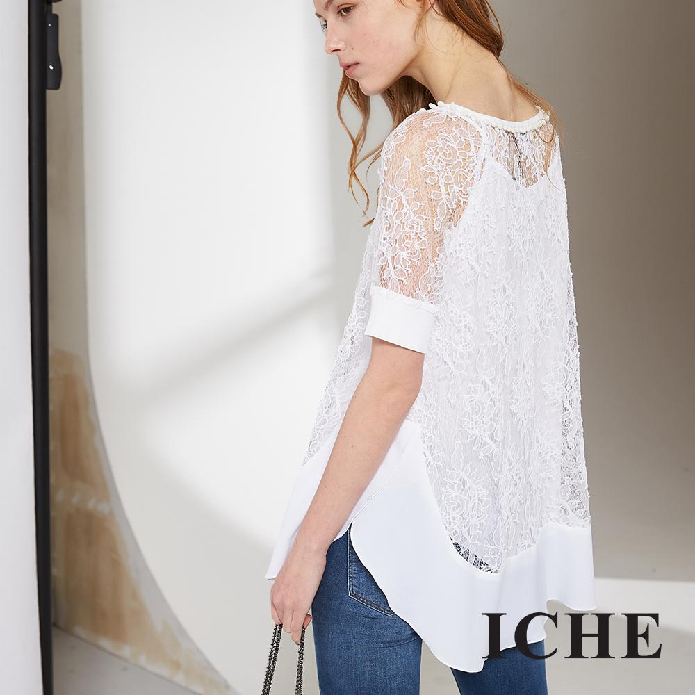 ICHE 衣哲 優雅蕾絲透視拼接五分袖長版上衣