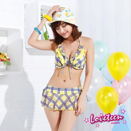 夏之戀LOVETEEN 可愛甜心比基尼三件式泳衣