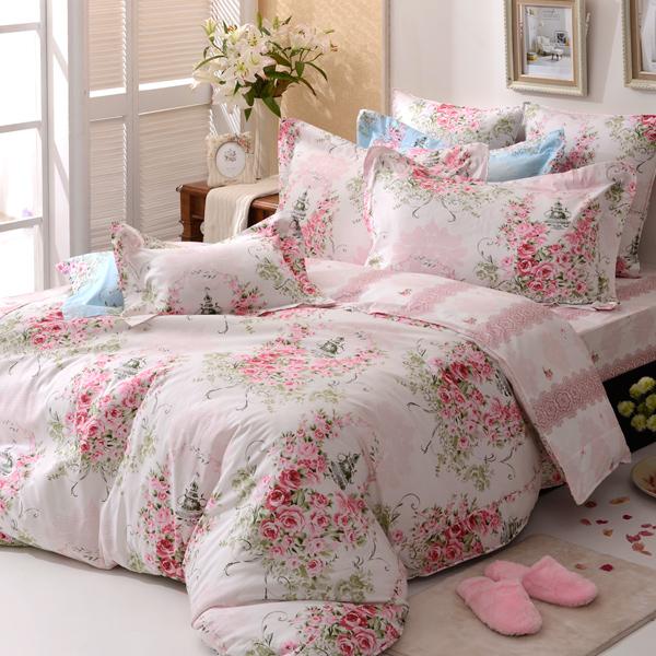 義大利La Belle《薔薇戀曲-粉》雙人純棉床包枕套組
