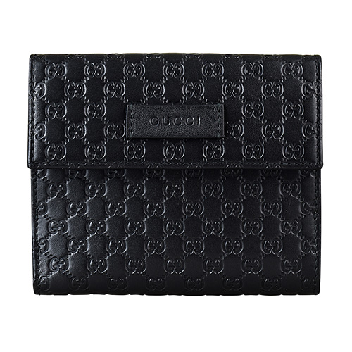 GUCCI經典Guccissima系列MINI雙G壓紋LOGO牛皮6卡釦式中夾(黑)