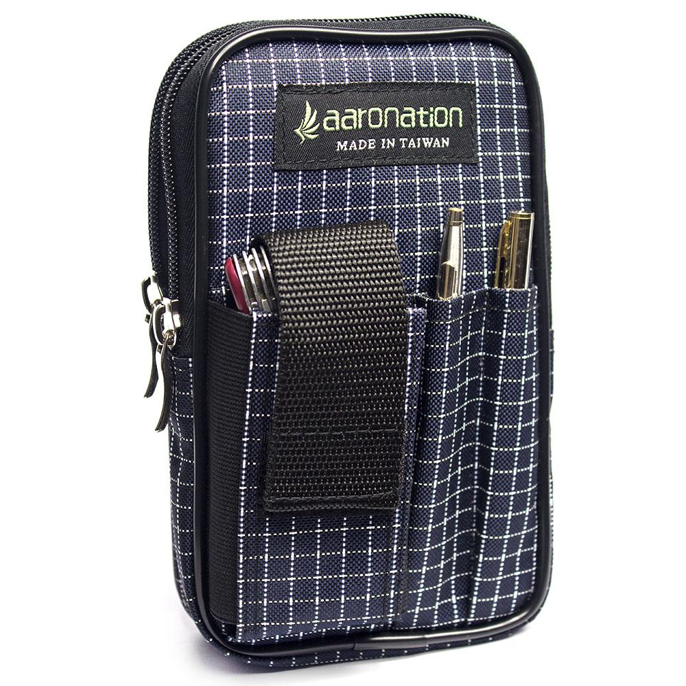 aaronation 愛倫國度 -多夾層拉鍊隨身包AN-2547L-藍白