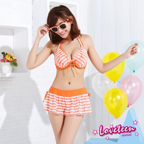 【LOVETEEN夏之戀】亮麗條紋比基尼三件式泳衣A15717
