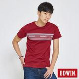 EDWIN 迦績織紋印條短袖T恤-男-朱紅