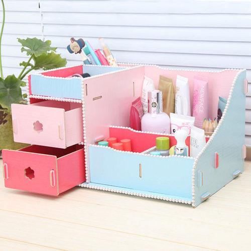多用途雙抽屜式木質收納盒