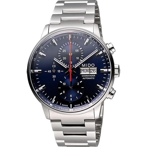 MIDO Commander 指揮官系列計時機械腕錶-藍x銀/42.5mm M0164141104100