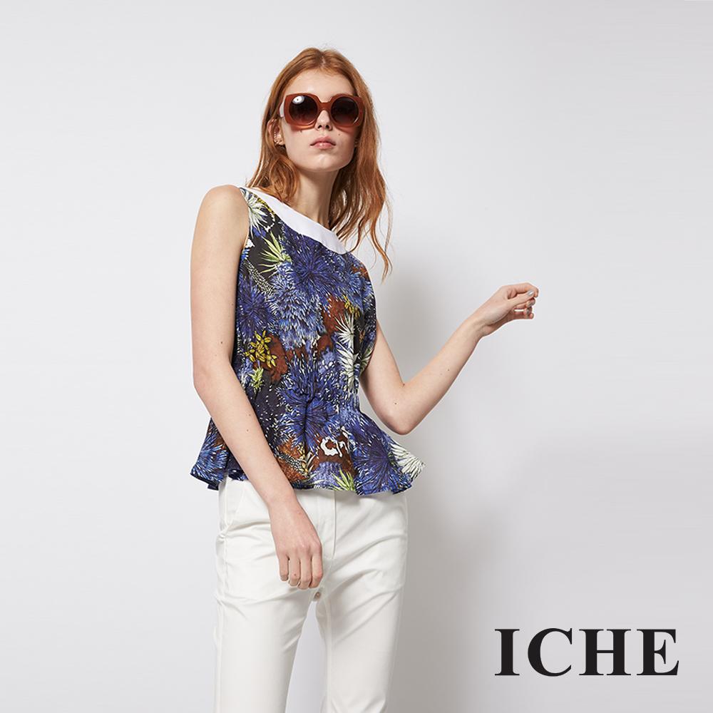 ICHE 衣哲 時尚印花拼接傘擺百搭造型上衣