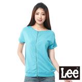 Lee 短袖T恤外套 前拉鍊設計-女款(藍綠)