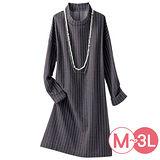 日本Portcros 現貨-小高領條紋提花洋裝(藏青色系/L)