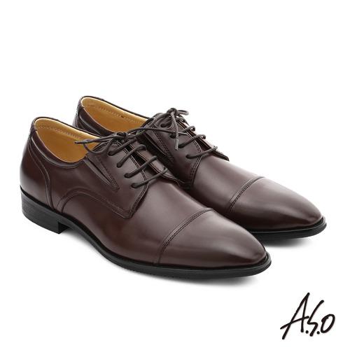 A.S.O 職人通勤 簡約全真皮綁帶紳士皮鞋 (咖啡)