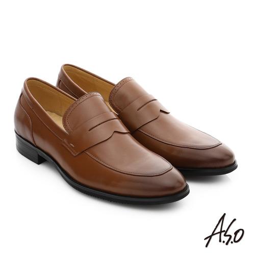A.S.O 職人通勤 簡約全真皮直套式紳士皮鞋 (茶)