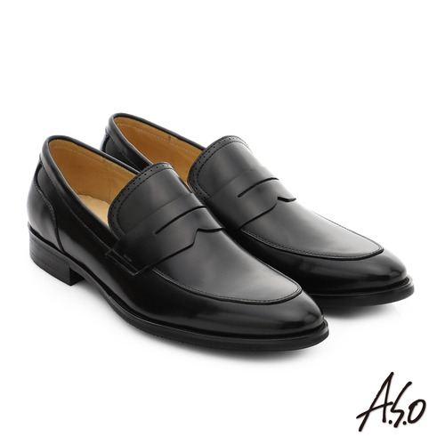 A.S.O 職人通勤 簡約全真皮直套式紳士皮鞋 (黑)