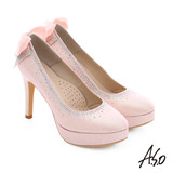 A.S.O 幸福華爾滋 金蔥布水鑽飾釦宴會高跟鞋(粉紅)