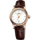 ORIS Classic 大三針機械女錶-白+玫瑰金框/28mm 0156176504851-0761410