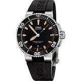 Oris Aquis 時間之海專業潛水機械腕錶-橘時標 0173376534159-0742634EB