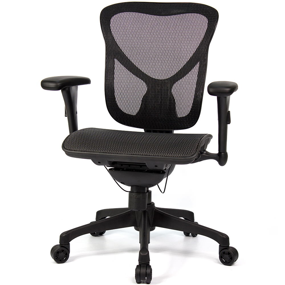 aaronation 愛倫國度 - JQ-D1系列-黑網-尼龍腳-線控式辦公椅