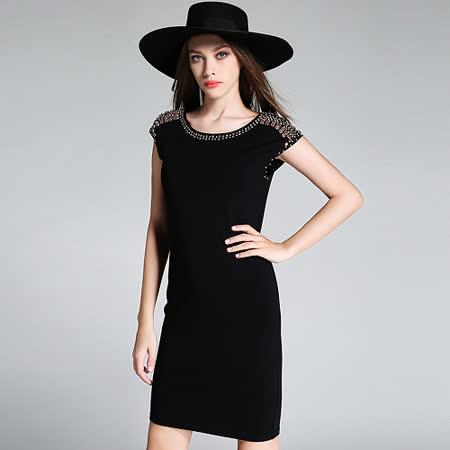 【KVOLL】歐美重工璀璨鑲鑽修身洋裝 -friDay購物