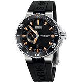 Oris Aquis 500米專業潛水機械腕錶-橘時標 0174376734159-0742634EB