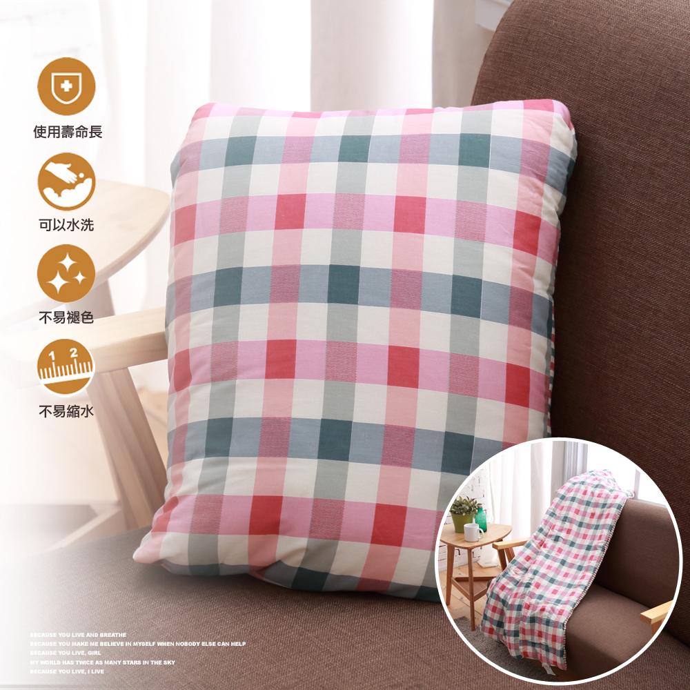 純棉多用途抱枕被 105x145cm-紅綠格紋