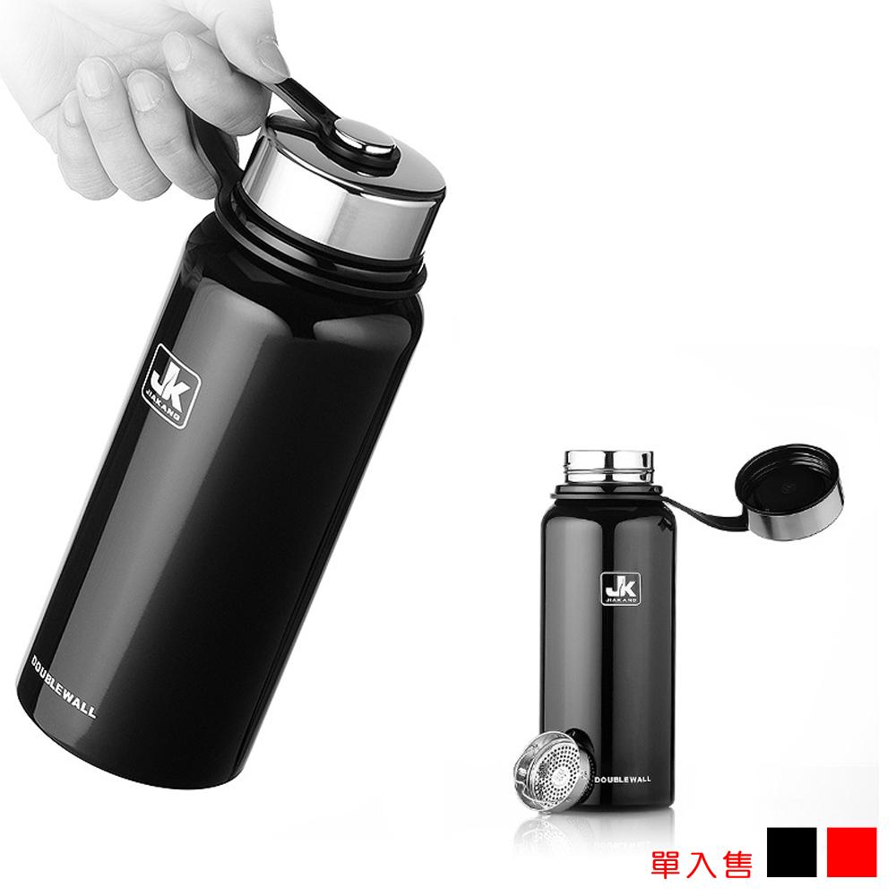 PUSH! 戶外休閒用品不銹鋼雙層真空冷泡茶保溫水壺保溫瓶1100ml保溫杯E83黑色