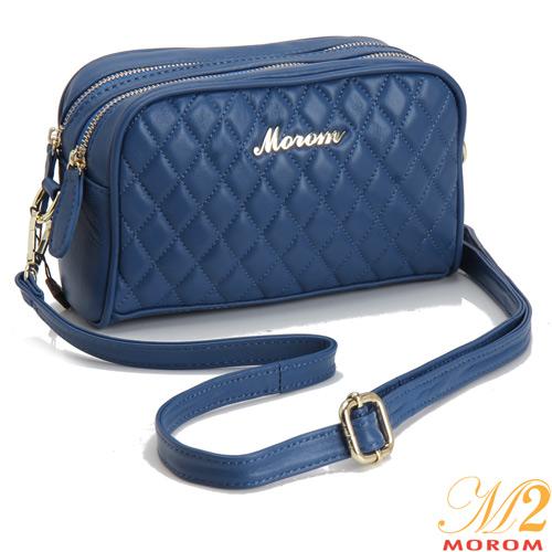 【MOROM】真皮流蘇立體菱格半鍊飾二用包(藍色)37815