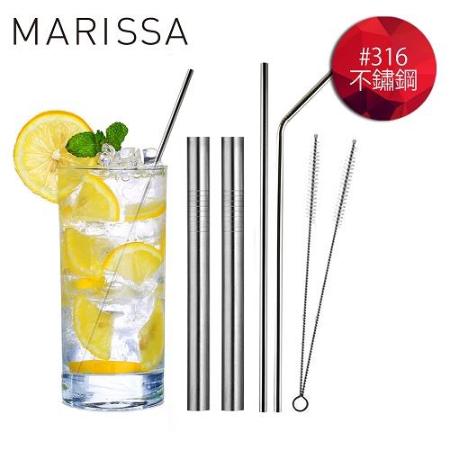 ~韓國MARISSA~ 加長版316不鏽鋼吸管便利6入組  L型吸管~1 直型吸管~1 粗