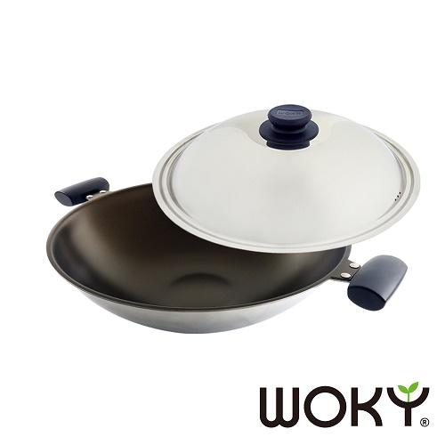 【WOKY沃廚】晶砂陶瓷專利不鏽鋼炒鍋39CM(贈不沾鍋專用矽膠鏟)
