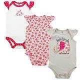 美國 luvable friends 嬰幼兒短袖包屁衣3件組 小花大象 (LF50792)