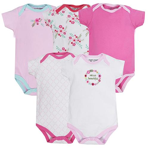 美國 luvable friends  嬰幼兒短袖包屁衣5件組_小花圖騰(LF30419)