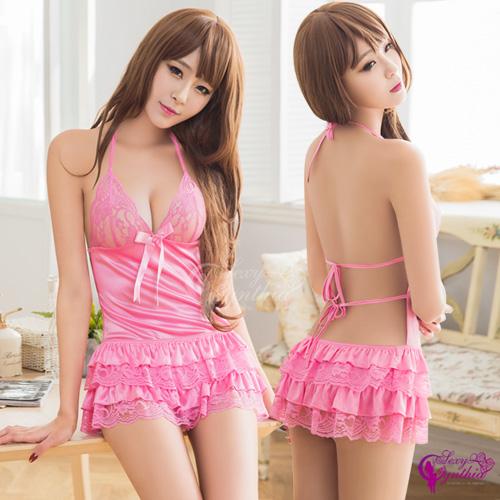【Sexy Cynthia】性感睡衣 粉紅蕾絲澎裙後綁帶二件式睡衣