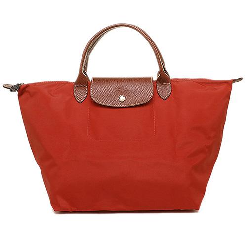 Longchamp 經典高彩度可摺疊水餃包_ 短把/中/磚紅色