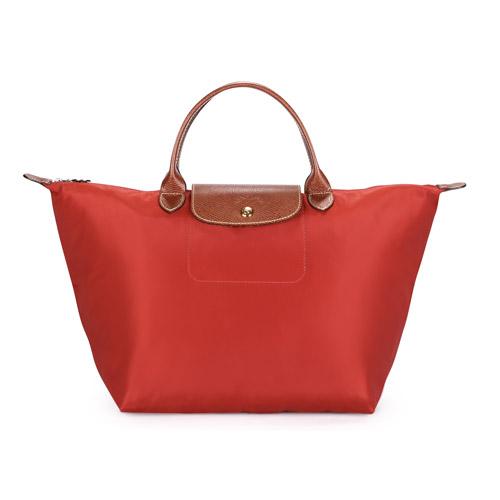 Longchamp 短提把中型水餃包-磚紅色