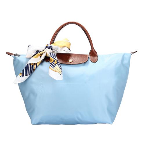 Longchamp 短提把中型水餃包-薄霧藍