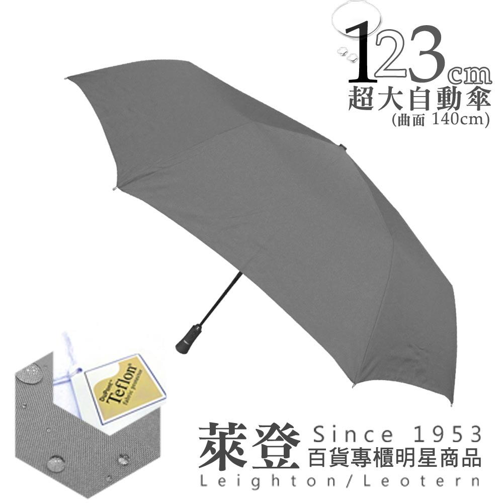 【萊登傘】123cm防撥水超大傘面自動傘(素面灰)-可遮三人
